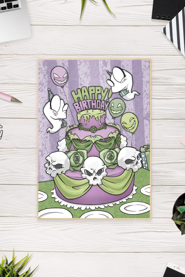 Birthday Card Green Front / Gothic Art