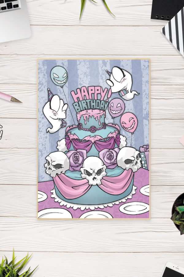 Birthday Card Purple Front / Gothic Art