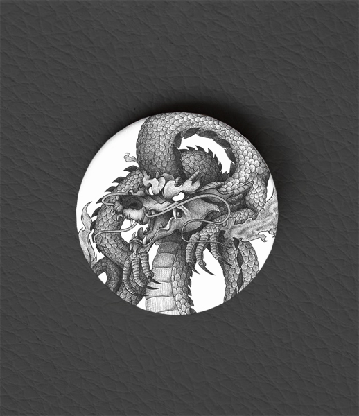 Button Chinese Dragon / Occult Art