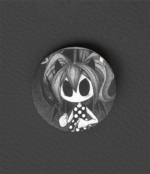Button Halloween Girl / Occult Art