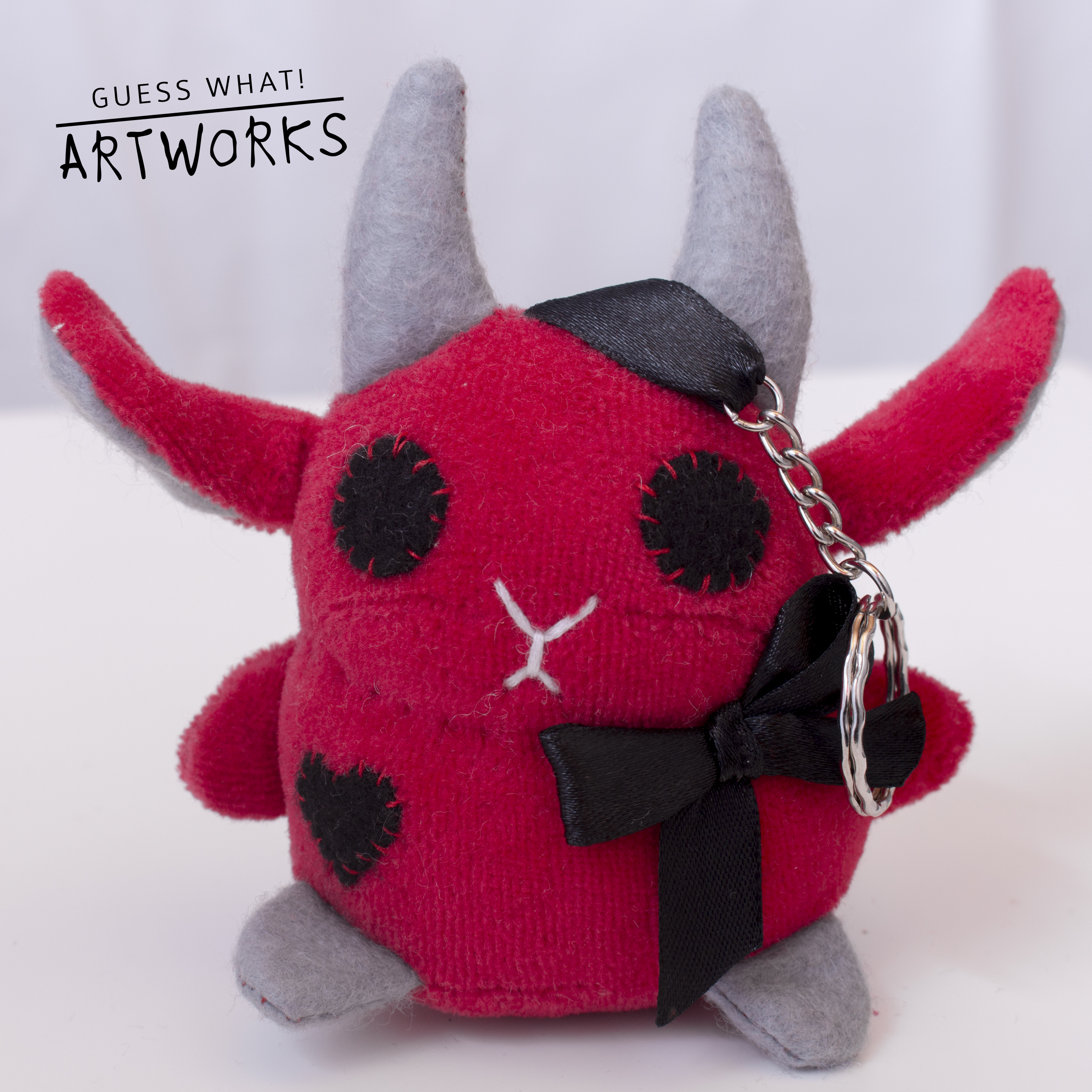 Red Baphomet Keychain with Bow and Heart